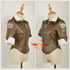 Overwatch Tracer Cosplay Costume Lena Oxton Brown Coat Just Jacket With Collar