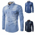 New Fashion Mens Long Sleeve Denim Shirt Casual Dress Shirts Slim Tops PLUS SIZE