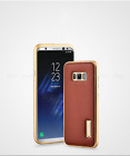 Genuine iMATCH Metal Frame Cowhide Leather Back Cover Stand for Galaxy S8 / Plus