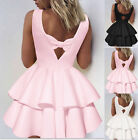 UK Women Sleeveless Backless Tiered Bow Skater Ladies Casual Evening Party Dress