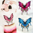 Applique Large Faded Red Blue Butterfly  Crafts Fashion Iron On Patch Embroidere