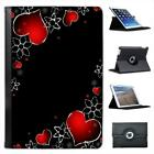 Red Hearts & Silver Flowers On Black Background Leather Case For iPad Mini