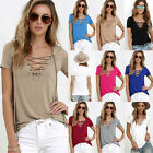 UK Womens Lace Up V Neck Loose Beach Ladies Casual T Shirt Tops Blouse Top 6-22