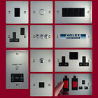 Volex Flat Polished Stainless Steel Light Switches and Electrical Sockets Black
