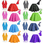 Kids Polka Dot Skirt or Waistcoat Ladies Girls 50s Rock n Roll Grease Costume