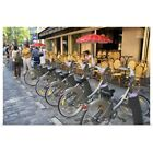 parts of a bicycle - Poster Print Wall Art entitled A rack of rental bicycles are part of the Velib,