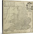 Premium Thick-Wrap Canvas Wall Art entitled Road Map of England and Wales