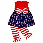 Girls 4th of July Patriotic Anchors Boutique Outfit Dress 2t 3t 4t 5 6 7 8 Cute