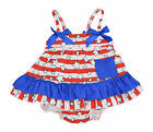 Baby Girls 4th of July Patriotic Swing Top Outfit Newborn Infant First Fourth