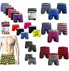Mens Urban Cotton Boxer Shorts Plain Stripe Camouflage Emoji Designs 3 & 6 Pack