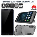 QUALITY SHOCK PROOF HYBRID PHONE CASE COVER GLASS SCREEN GUARD - HUAWEI P10