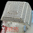 10K White Gold Finish Mens Round Cut Simu. Diamond Ring Wedding Band 2.00 Ctw