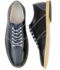NEW MENS RETRO MOD BRITPOP NORTHERN SOUL BOWLING SHOES Madcap England BLACK/NAVY