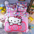New Hello kitty Bedding Set Fashion Cartoon Twin And Queen 4 Pieces Sheet Bed