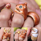 3Pcs/Set Cute Animal Deer Adjustable Finger Rings Christmas Party Jewelry Gifts