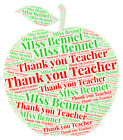 Thank You Teacher Apple Candle Gifts P&P For Up to 6 Candles