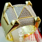 Mens 10K Yellow Gold Over Real Sterling Silver Diamond Shape Designer Ring Band