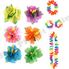 HAWAIIAN FLOWER HAIRCLIP LEI FLOWER GARLAND NECKLACE HULA SUMMER FANCY DRESS
