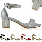 New Womens Low Heel Sandals Ankle Strap Open Toe Ladies Party Shoes Size