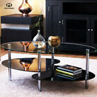 Modern Glass Coffee Table End Table Chrome Finish Legs Living Room Furniture