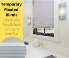 Dim Out Grey Pleated Temporary Paper Blind Reusable & Portable - No Screws!