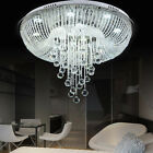 Luxury Clear Crystal & Glass Draping Chrome Flush Mount Ceiling Lights LED Lamp
