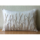 """Jute And Mother Of Pearls 12""""x14"""" Art Silk Ivory Lumbar Pillow Cover - Amour"""