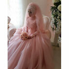 Pink Arabic Luxury Pearl High Neck Wedding Dresses Long Sleeve Muslim Ball Gowns