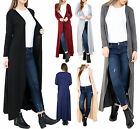 NEW WOMENS LADIES MODEST PLAIN LONG SLEEVE OPEN LONGLINE MAXI CARDIGAN SIZE 8-26