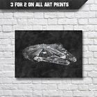 Star Wars Poster - Millennium Falcon Blueprint Wall Art Print - A3 A4 Prints £9.35 GBP
