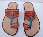 100% MOROCCAN LEATHER  MULTI COLOUR SANDALS * 4 sizes available ORANGE