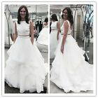 White Two Pieces Party Prom Dresses Formal Wedding Evening Ball Pageant Gown New