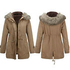 Women Warm Winter Parka Long Coat Fur Hoodie Slim Fleece Quilted Jacket Outwear