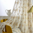Embroidery Simple European Tulle Curtains Cotton Drape for Balcony Window 1 Piece