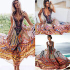 Damen Long Kleid Vintage Boho Maxikleid Party Sommerkleid Strandkleid Abendkleid
