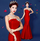 Fashion Gold strapless Formal Evening Prom Party Bridesmaid Fishtail Dres L605
