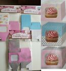 Queen Of Cakes 6 x Single Cupcake Boxes Cardboard Blue Pink Paisley With Inserts