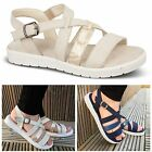 Womens Ladies Flat Strappy Summer Sandals Walking Comfort Beach Shoes Size 3-8