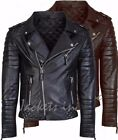 New Men's Genuine Lambskin Leather Jacket BLACK & BROWN Slim fit Biker jacket