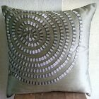 "Grey Spiral 12""x12"" Silk Pillows Cover - Metallic Rings"
