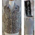 BNWOT MISS SELFRIDGE Sequin Silver/Grey Party Top. Size 8. Button Up, S/Less