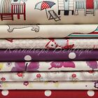 100% cotton fabric, children, beach hut and floral by the metre or 1/2 metre