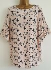 NEW Plus Size16-32 Wide Flute Sleeve Elephant Print Nude Black Tunic Top Blouse