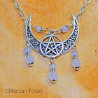 Ornate Crescent Moon Pentacle Necklace - Pagan Jewellery, Wicca, Goddess, Witch