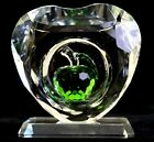 Crystal Heart Ornament with Green or Red Apple in the middle