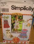 Simplicity 7572 Girls Romper Top Shirt Dress Just Be 'Cuz MANY SIZES OOP VINTAGE