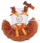 Daddy Basketball Teammate White Top Orange Bling Sequins Baby Skirt Outfit 3-12M