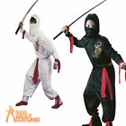 Child Ninja Costume Martial Arts Assassin Boys Black or White Fancy Dress Outfit