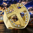 MEN'S STAINLESS STEEL CHRISTIAN HOLY CROSS RING BAND GOLD PLATED SIZE 8-12
