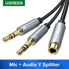 UGREEN Headphone Mic Y Splitter Cable Audio Microphone 3.5mm Jack For Speaker PC